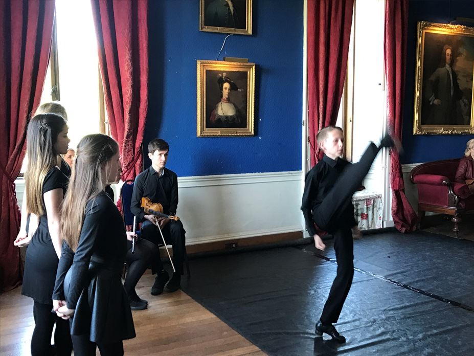 Michael Flatley was never in it! These high kicks are amazing - so fast that even the camera had difficulty keeping up. The Cresham School of Dancers pictured providing a showcase to a group in May 2017 in the Long Gallery of Westport House.