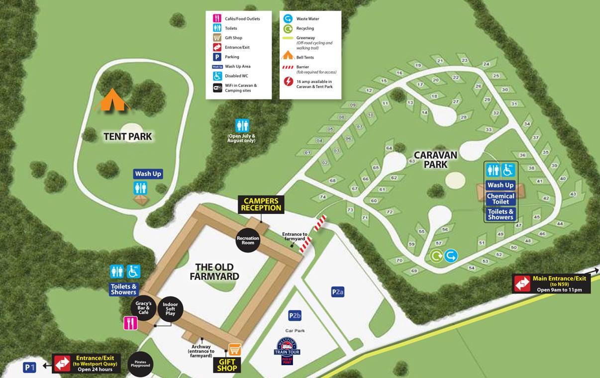Map Of Caravan And Camping Park Westport House