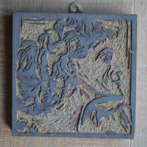 Original Linocut block showing last colour raised in relief