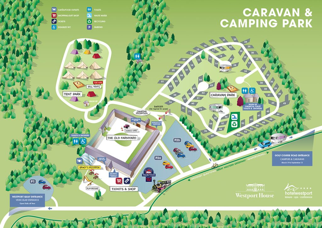 Map of Caravan and Camping Park - Westport House Camping Map on