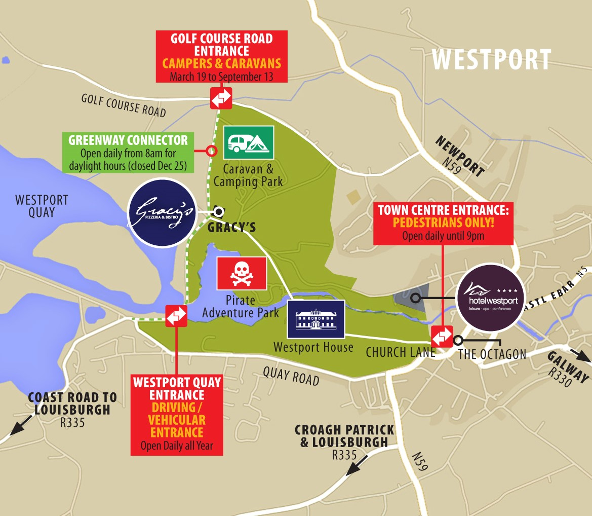 Map Of Ireland Knock.Find Us Westport House